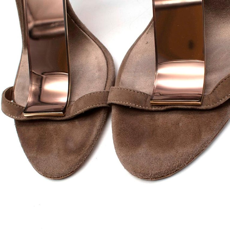 Women's or Men's Burberry Taupe Suede T Copper Detail Strappy Sandals - Size 38.5 For Sale