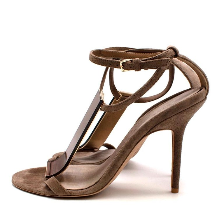Burberry Taupe Suede T Copper Detail Strappy Sandals - Size 38.5 For Sale 1