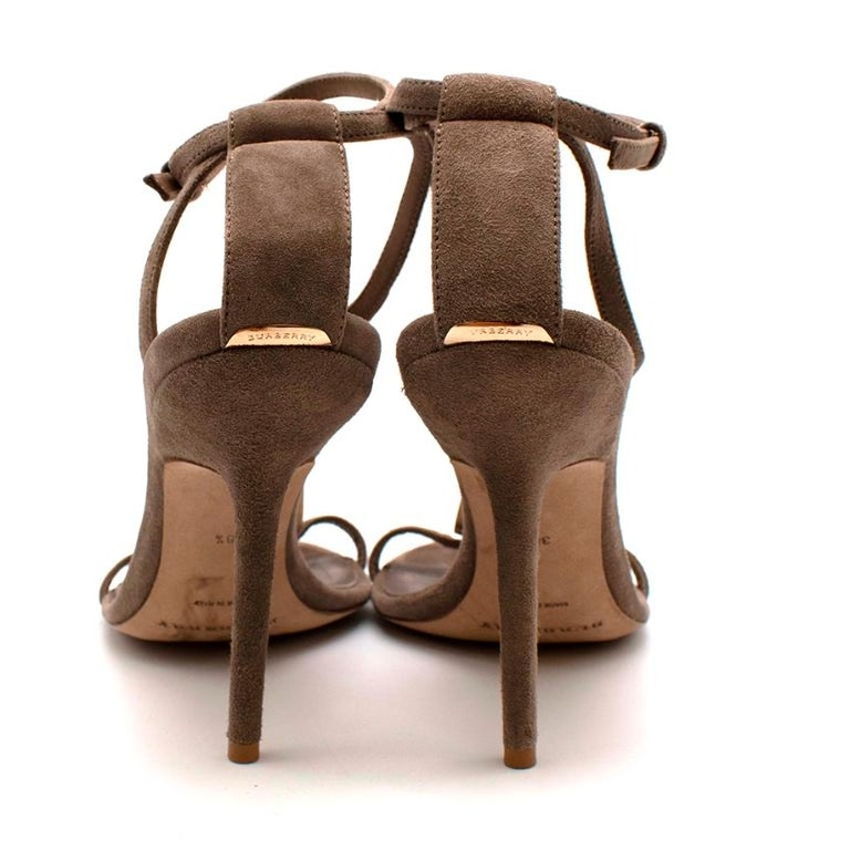 Burberry Taupe Suede T Copper Detail Strappy Sandals - Size 38.5 For Sale 2