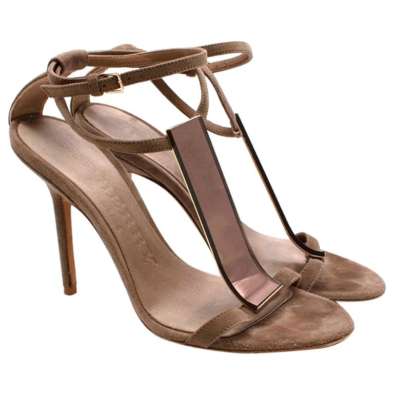 Burberry Taupe Suede T Copper Detail Strappy Sandals - Size 38.5 For Sale