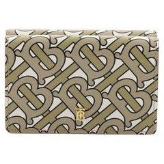Burberry TB Double Flap Wallet Monogram Print Leather