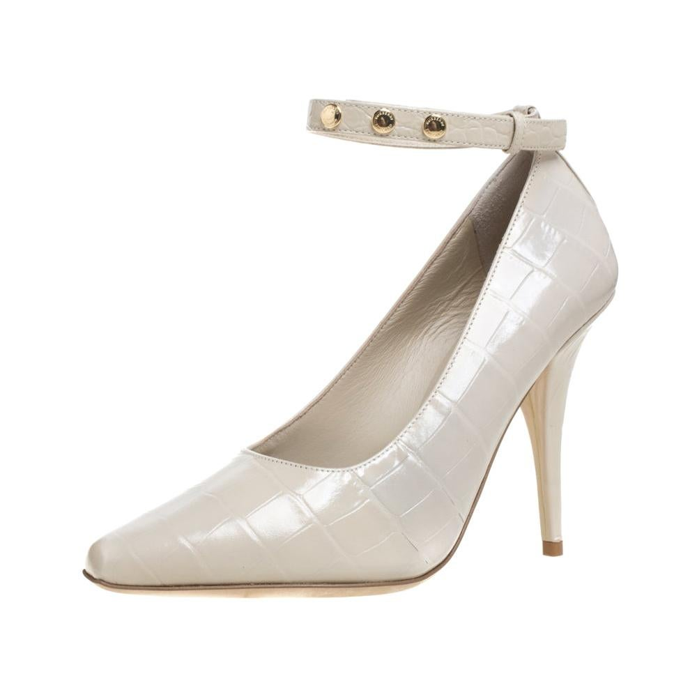 Burberry Teddy Beige Leather Ankle Strap Pumps Size 38