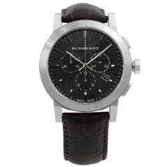 Burberry the City Chrono Steel Leather Black Dial Quartz Men's Watch BU9356