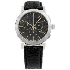 Burberry the City Chrono Steel Leather Quartz Black Dial Men's Watch BU9356