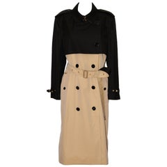 Burberry Two-Tone Black and Beige Trench Coat