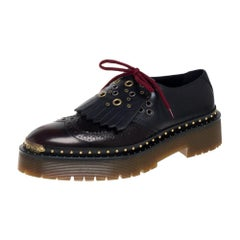 Burberry Two Tone Brogue Leather Bissett Detail Lace Up Platform Derby Size 40