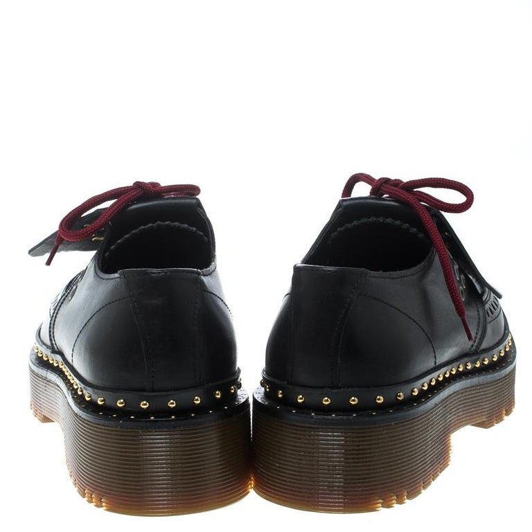 0f12a809f1a Black Burberry Two Tone Brogue Leather Bissett Fringe Detail Lace Up Platform  Derby Si For Sale