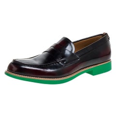 Burberry Two Tone Leather Emile Penny Slip On Loafers Size 45