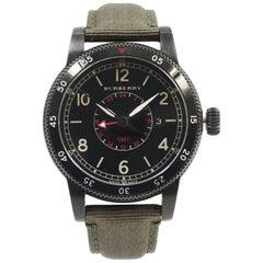 Burberry Utilitarian GMT Black Ion Plated Steel Nylon Quartz Men's Watch BU7855
