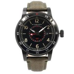 Burberry Utilitarian GMT Black Ion-Plated Steel Nylon Quartz Men's Watch BU7855