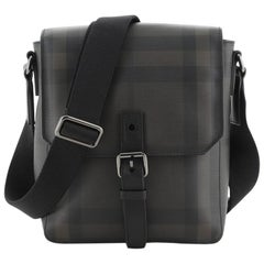 Burberry Vaughan Messenger Bag Smoked Check Coated Canvas Small