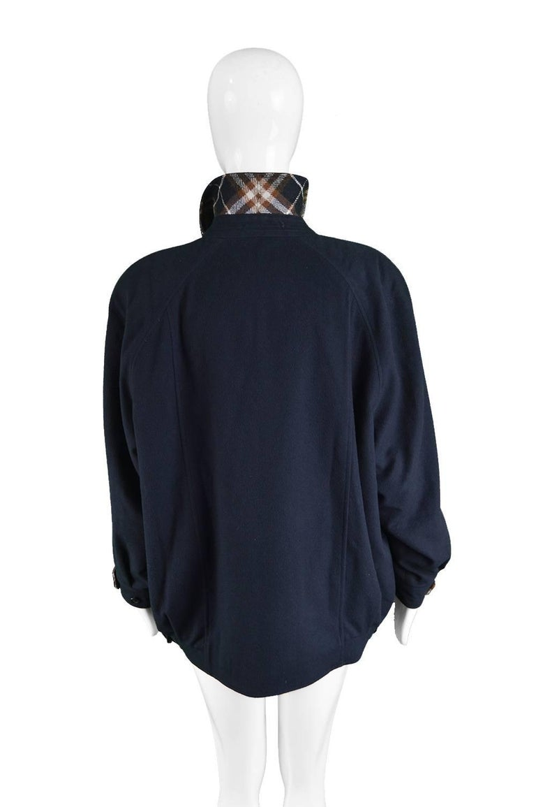Burberry Navy Blue Alpaca And Wool Embroidered Women S