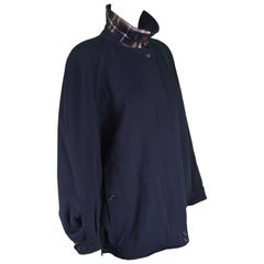 Burberry Navy Blue Alpaca and Wool Embroidered Women's Bomber Jacket, 1980