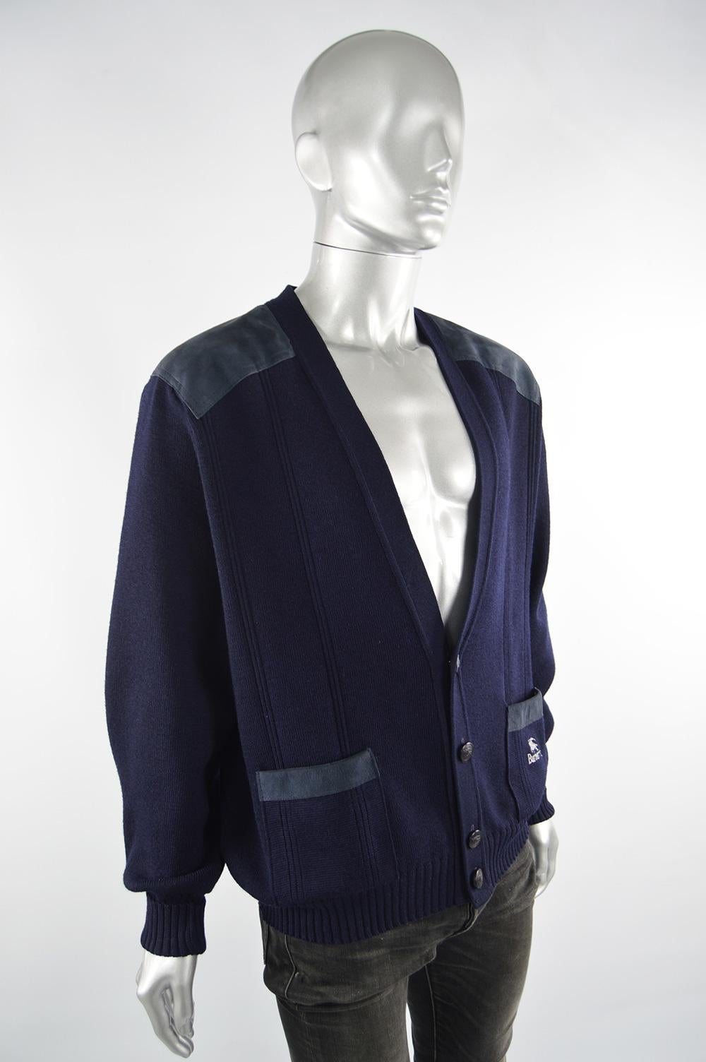 Burberry Vintage Mens Dark Blue Wool & Suede Elbow Patch Cardigan Sweater, 1980s