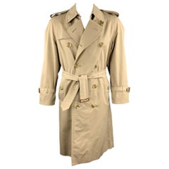 BURBERRY Vintage Size 42 Khaki Double Breasted Plaid Lined Trenchcoat