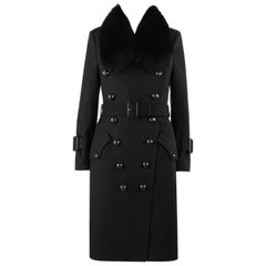 "BURBERRY ""Walgrave"" Black Fox Fur Collar Double Breasted Belted Peacoat Trench"