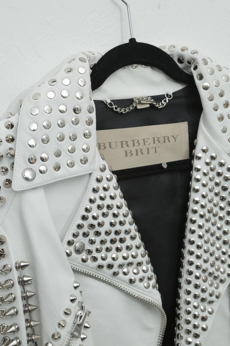 Gray Burberry White Leather Jacket  with SIlver Studs 2015 For Sale