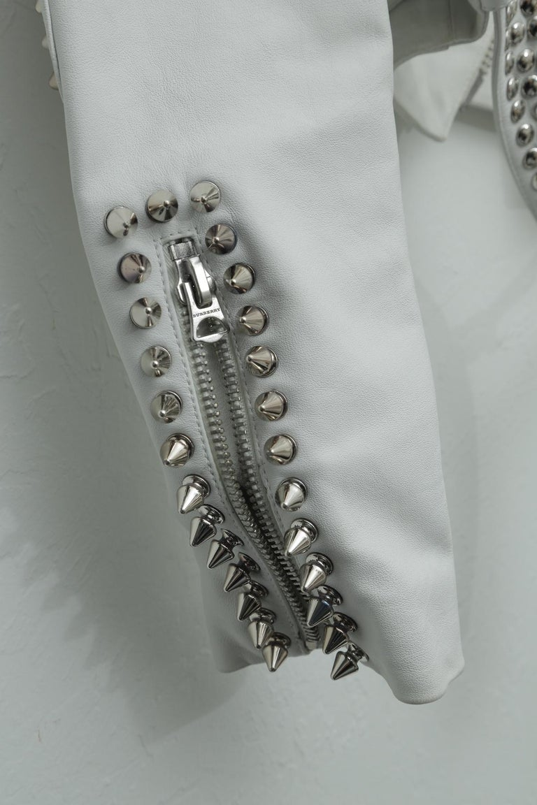 Women's Burberry White Leather Jacket  with SIlver Studs 2015 For Sale