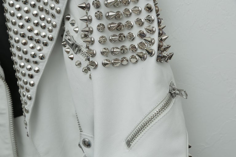 Burberry White Leather Jacket  with SIlver Studs 2015 For Sale 1