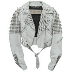 Burberry White Leather Jacket  with SIlver Studs 2015