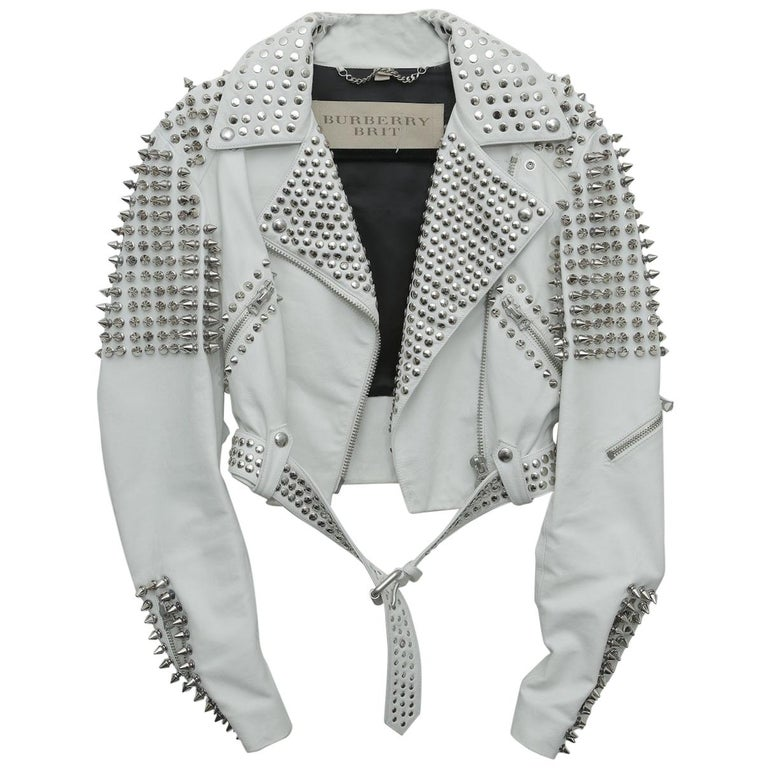 Burberry White Leather Jacket  with SIlver Studs 2015 For Sale