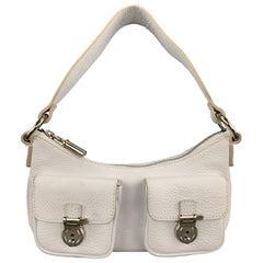 BURBERRY White Leather Mini Patch Flap Pocket Shoulder Bag Purse