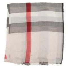 Burberry White & Multicolor Nova Check Wool Scarf