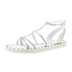 Burberry White Studded Leather Hansel T-Strap Flat Sandals Size 39.5