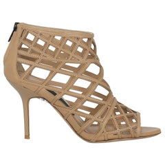 Burberry Woman Ankle boots Beige Leather IT 38