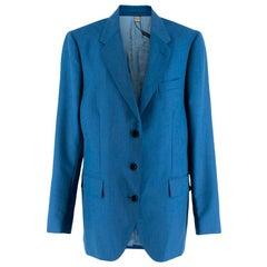 Burberry Women's Blue Wool Blend Single Breasted Jacket 14 L