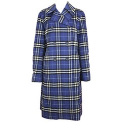 Burberry Women's Double Breasted Coat in Blue Check, c. 2000's, size 6 US