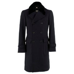 Burberry Wool Black Tailored Coat with Mink Fur Collar SIZE 44