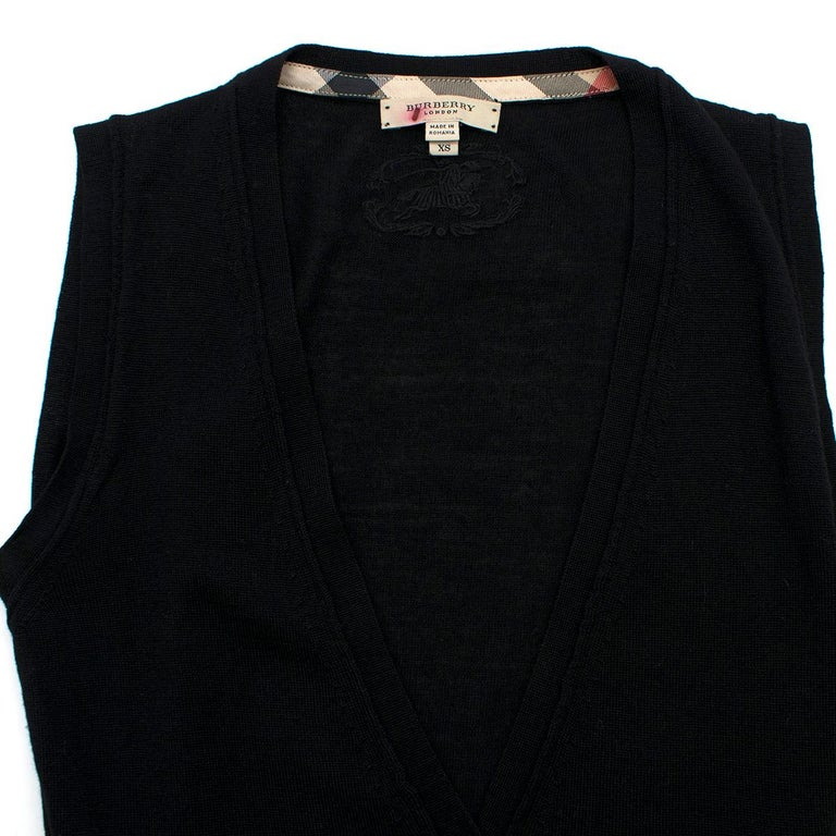 Women's Burberry Wool blend Black Sleeveless Cardigan - Size XS For Sale
