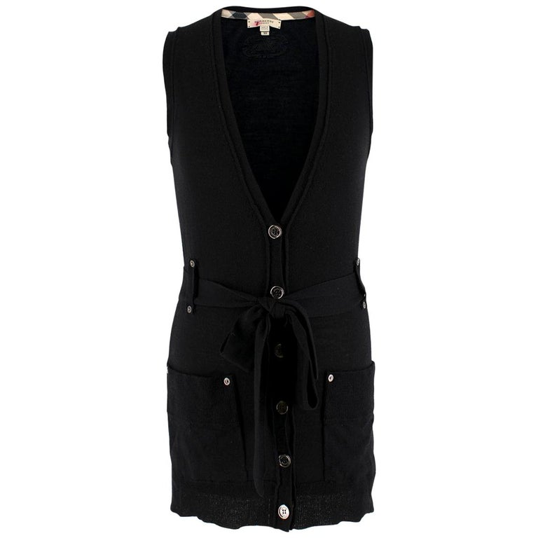 Burberry Wool blend Black Sleeveless Cardigan - Size XS For Sale