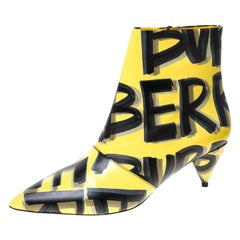 Burberry Yellow/Black Leather Wilsbeck Ankle Boots Size 36.5