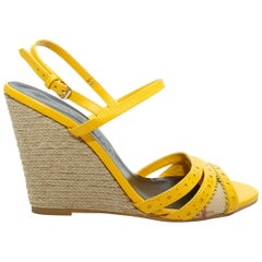 Burberry Yellow Espadrille Wedge Heels