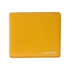 Burberry Yellow Leather Bifold Compact Wallet