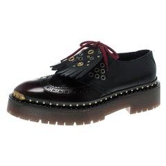 BurberryBrogue Leather Bissett Fringe Detail Lace Up Platform Derby Size 40