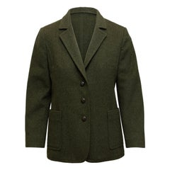 Burberrys Dark Olive Virgin Wool Blazer