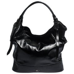 Burburry Black Patent Leather Oversize Hobo