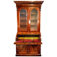 Victorian Bureau Bookcase Mid-Size 19th Century Cylinder Top Secretaire