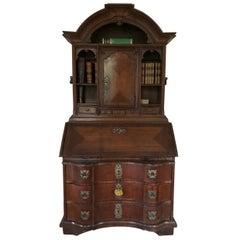 Bureau Bookcase Oak German Serpentine Front Original Brassware Working Locks