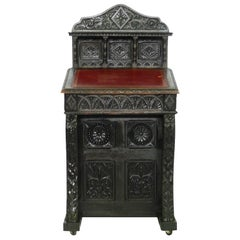 Bureau Desk Davenport 19th Century Country House-Carved Wood Gothic Revival 1860