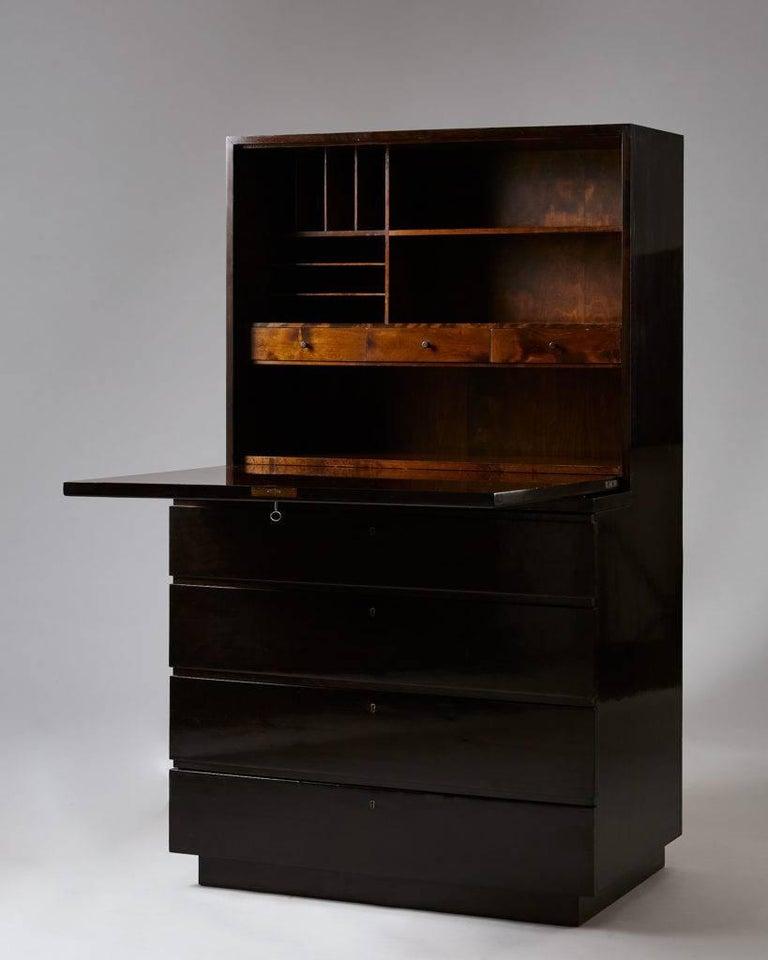 "Bureau ""Typenko"" designed by Axel Einar Hjorth for Nordiska Kompaniet, Sweden, 1932.  Ebonized birch.  Measures: H 137 cm/ 4' 6 1/4"