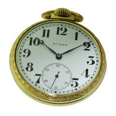 Buren Open Faced Art Deco Pocket Watch with Original Enamel Dial, circa 1930s