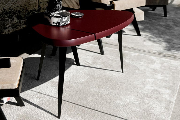 Mid-Century Modern Burgandy Matte Lacquered Wood Top with Black Iron Leg Dining Table, Cassina For Sale