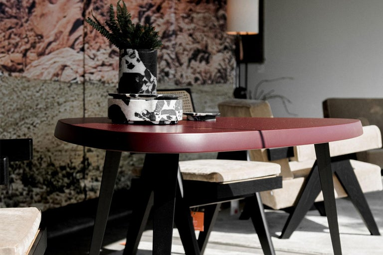 Italian Burgandy Matte Lacquered Wood Top with Black Iron Leg Dining Table, Cassina For Sale