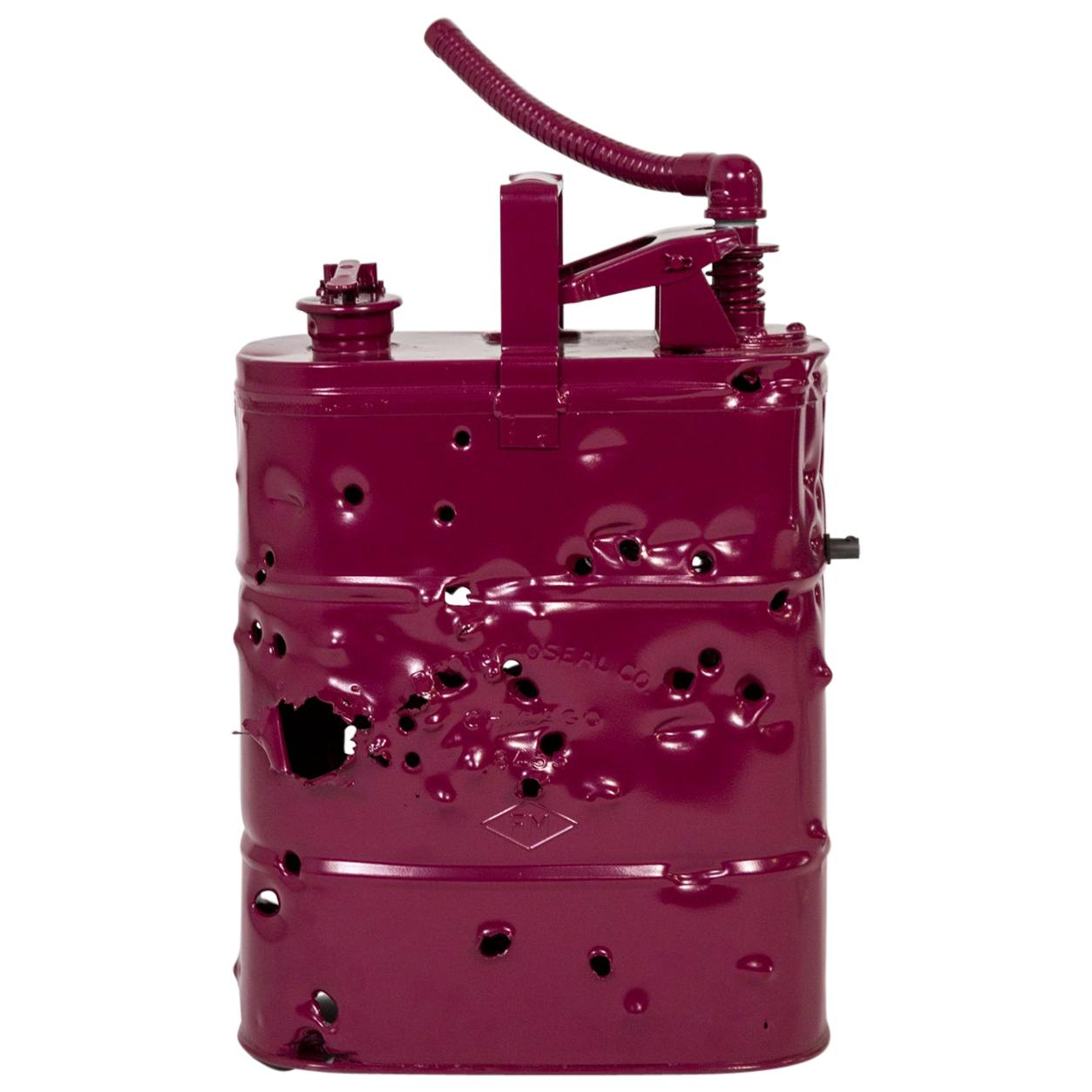 Burgundy Bullet Holed Can Lamp by Charles Linder
