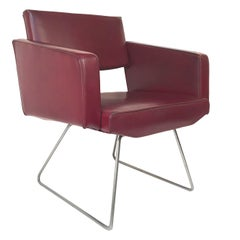 Burgundy Faux Leather French Armchair after Joseph-André Motte, 1950s