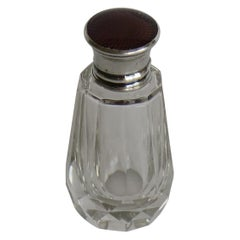 Burgundy Guilloche & Silver Topped Cut Glass Scent or Perfume Bottle London 1921